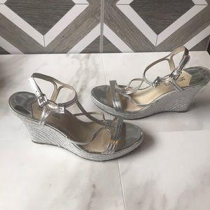 Michael Michael kors silver wedge heels
